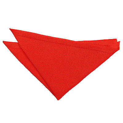 Red Handkerchief Hanky Knit Knitted Plain Mens Formal Accessories by DQT