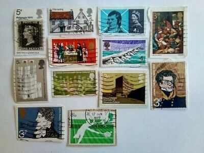 Collection of Assorted British Postage Stamps x12, used/on+off paper.