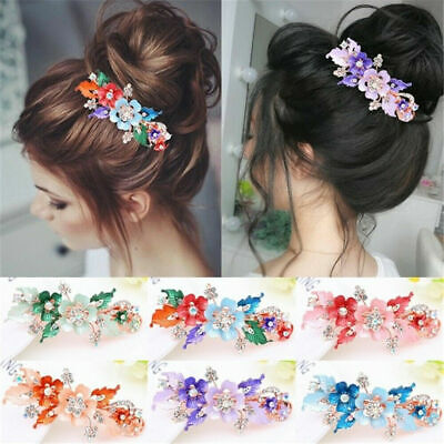 Women Girls Headwear Accessories Flower Barrettes Cute Hairpin Crystal Hair Clip