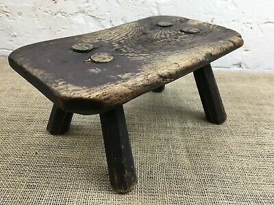 Old Antique Rustic Primitive Oak Milking Foot Stool Step
