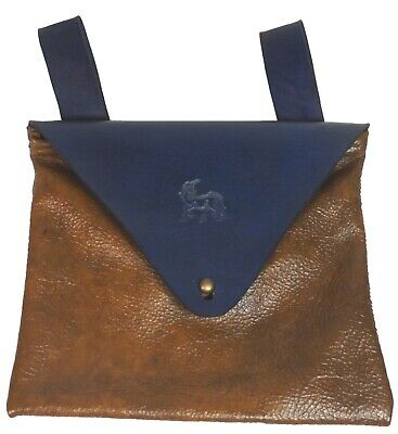 Blue & Brown Unicorn Leather Belt Pouch Hand Made LARP