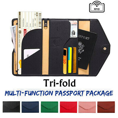 RFID Blocking PU Leather 9 Slot Passport Card ID Holder Wallet Cover Case