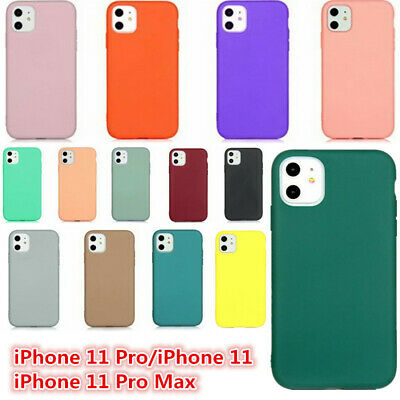 For iPhone 11 Pro MAX XS XR X 8 7 15 Colors Silicone Shockproof Soft Case Cover