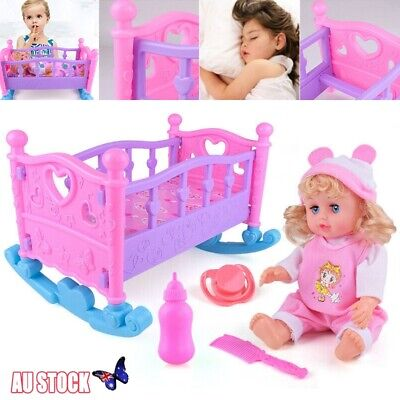 Pink Dolls Rocking Cradle Crib Cot Bed Girls Toy Creative Baby Xmas Gifts