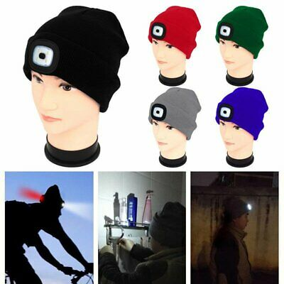 4 Led Light Cap Beanie Hat + 2 Battery / USB for Hunting Camping Running Fishing