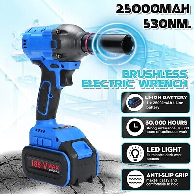 🔥 1/2'' Electric Torque 530Nm Cordless Brushless Impact Wrench Tool 25000mAh