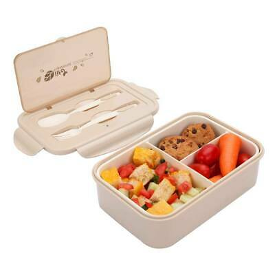 Bento Box Lunchbox mit 3 Fächern und Besteck 1400ML Brotdose Lunch-Boxen Kinder