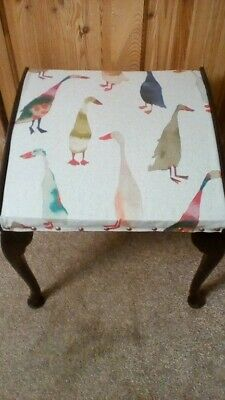 Elegant cabriole foot stool/dressing table stool, re upholstered in duck fabric