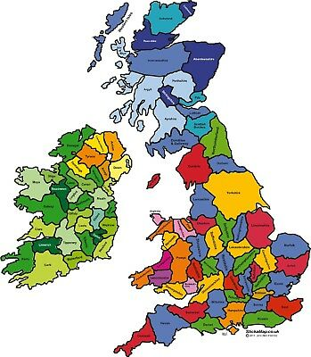 decal  map of U.K A4  Teaching aid individual counties allocated each student