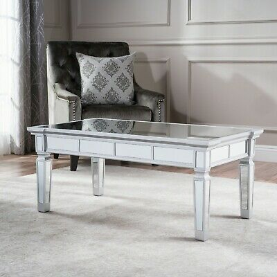 Glam Mirrored Coffee Tail Table Silver Finish Living