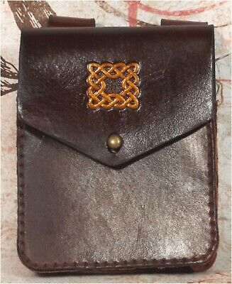 Small Brown Celtic Knot Leather Belt Pouch Hand Made LARP Knight Noble