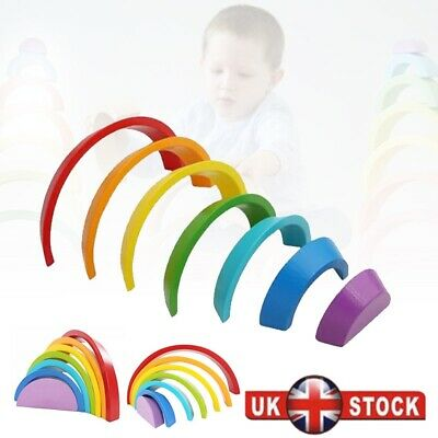 Baby Kids Rainbow Stacking Toy Child Puzzle Wooden Birthday Christmas Gifts UK