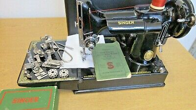 Vintage Singer Featherweight 221K Sewing Machine, Serviced, Attachments, Book