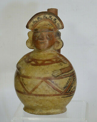 PRE-COLUMBIAN WARRIOR with HEADDRESS POTTERY MOCHE STIRRUP VESSEL