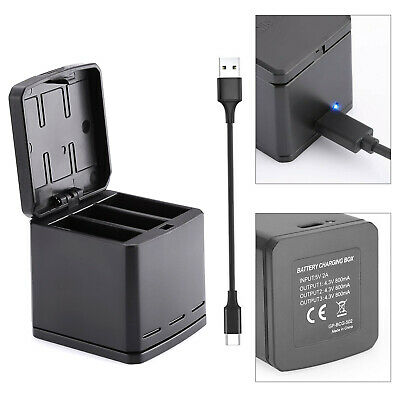 TELESIN 3-way Battery Charger Dock Charging Box 2 in 1 for GoPro Hero 5 6 7 T3