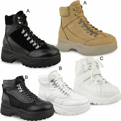 Womens Ladies Hi Tops Lace Up Flat Chunky Trainers Ankle Boots Sneakers Shoes UK