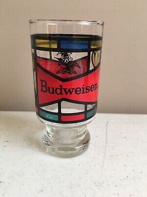 1970's Anheuser Busch Budweiser Beer 5 1/2 Inch Stained Glass Style Glass