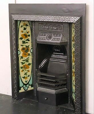 "Victorian Cast Iron 30""x36"" Tiled Insert Fireplace with Original Tiles"