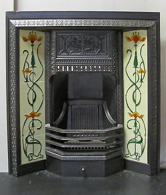"Victorian Cast Iron 32""x36"" Tiled Insert Fireplace"