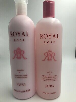 Jafra Royal Rose (Rich Body Oil & Lotion Set) 16.9oz Fast Shipping.