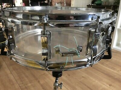 "Ludwig Vistalite Snare Drum, 14 x 5"" clear, b/o cut badge Vintage rar !"