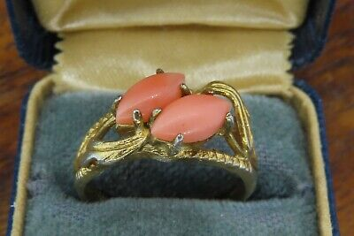 Vintage gold sterling silver ANTIQUE CARVED CORAL RETRO DECO ring