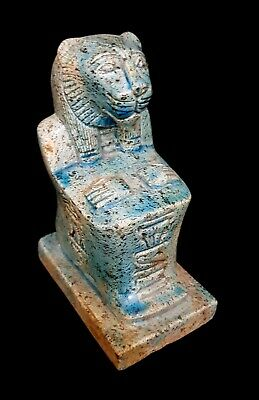 Sekhmet Egypt Ancient Amulet Faience Blue Nice Stone Antiques Goddess Statue BC