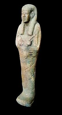 Shabti Egypt Faience Ushabti Ancient Antique Statue W/T Hieroglyphs Late Period