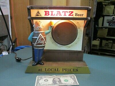 Vintage Original Marquee Blatz Beer Lighted Sign Barrel Guy At Local Prices