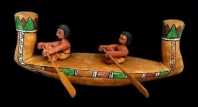 Egyptian Funerary Boat Wooden Antique Barge Large Bead W/T Wedjet & Shabtis