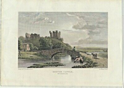 19th Century Antique Prints; Brough Castle, Cumbria