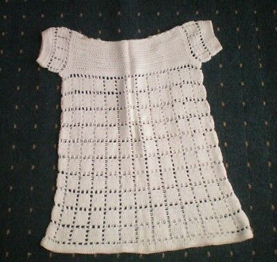 Vintage  Crochet Dress Approx 4 Years..see Measurements Vgc