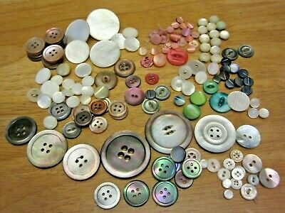 278 VTG Antique MOP Buttons Mother Of Pearl Multi Color Pink Green Blue  Red
