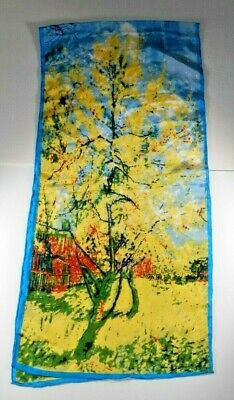 "Cocoon House Silk Scarf Oblong 16""x 66"" Wearable Art Impressionist Trees"