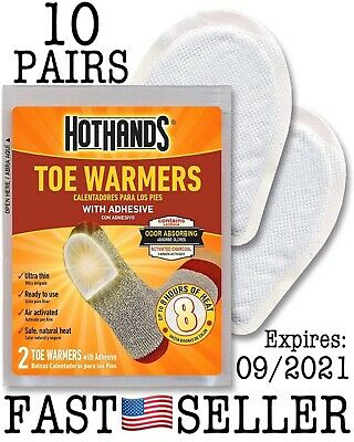 Hothands Feet Toe Warmers With Adhesive Heat - 10 PAIRS (20 Individual) SEALED!