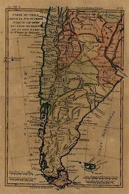 South America c. 1780 Bonne map engraved w/ lovely hand color