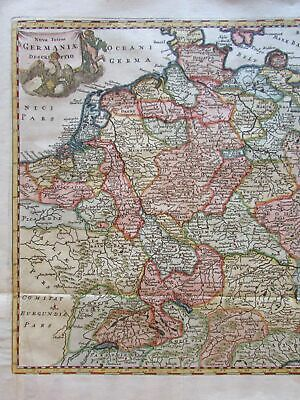 Holy Roman Empire Germany 1711 Cluverius decorative map w/ fine hand color