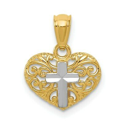 14K Yellow Gold and Rhodium Cross in Heart Pendant. (0.6INx0.4IN)