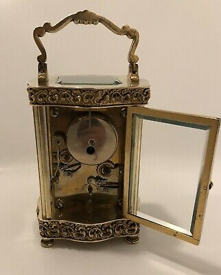 Solid Brass Serpentine Carriage Clock Striking Bell Alarm Beautiful Ormolu Ornat