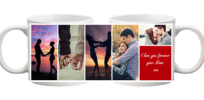 PHOTO 5 Picture Collage With Message Personalised Mug Gift Cup Birthday Present