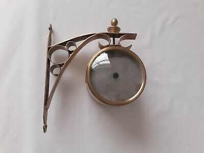 Wall Mounted Double Sided Empty Brass Clock Case w/ Bracket - Spares or Repair
