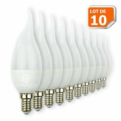 Lot de 10 Ampoules LED E14 Flamme 5W Eq 40W Blanc Chaud