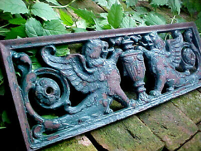 Antique Detroit Victorian Cast Iron Winged Griffin Grid Architectural Souvenir