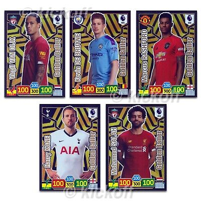 Panini Adrenalyn XL 2019-2020: Set of ALL 5 Golden Baller cards. Premier League
