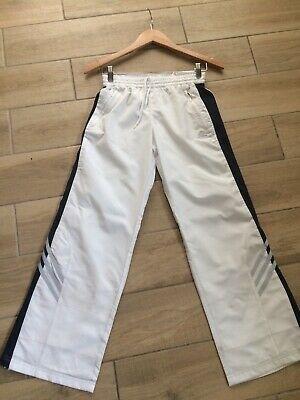 Adidas Vintage Retro Wide Leg Zip Ankles Flared Trousers Climacool White UK 26""