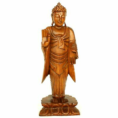 Large Standing Buddha Wooden Hand Carved Thai Indian Wood Statue 40cm