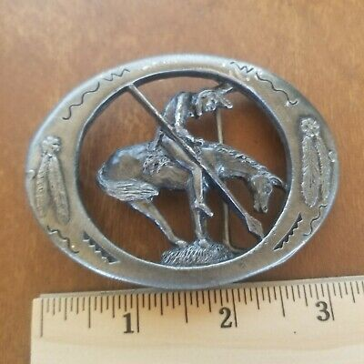 """Colorado Silver Star Belt Buckle Native American Indian """"end of the trail"""" 1992"""