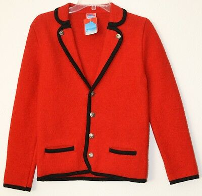 Austrian wool Jacket/sweater Girls EU size 164 (US size 12/14) Red
