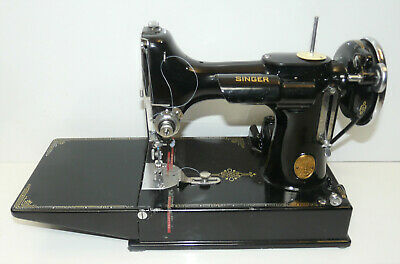 1936 Vintage Singer 221 Featherweight Sewing Machine w/ Case & Key Tested INV