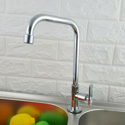 360° Rotation Single Hole Faucet Kitchen Wash Basin Cold Water Mixer Taps Tool
